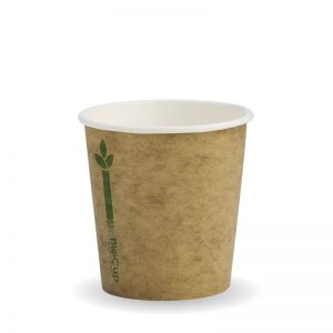 BioPak Kraft Green Stripe Single Wall Hot Cups