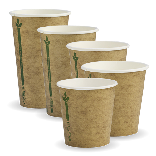 BioPak Kraft Green Line Hot Cups SW